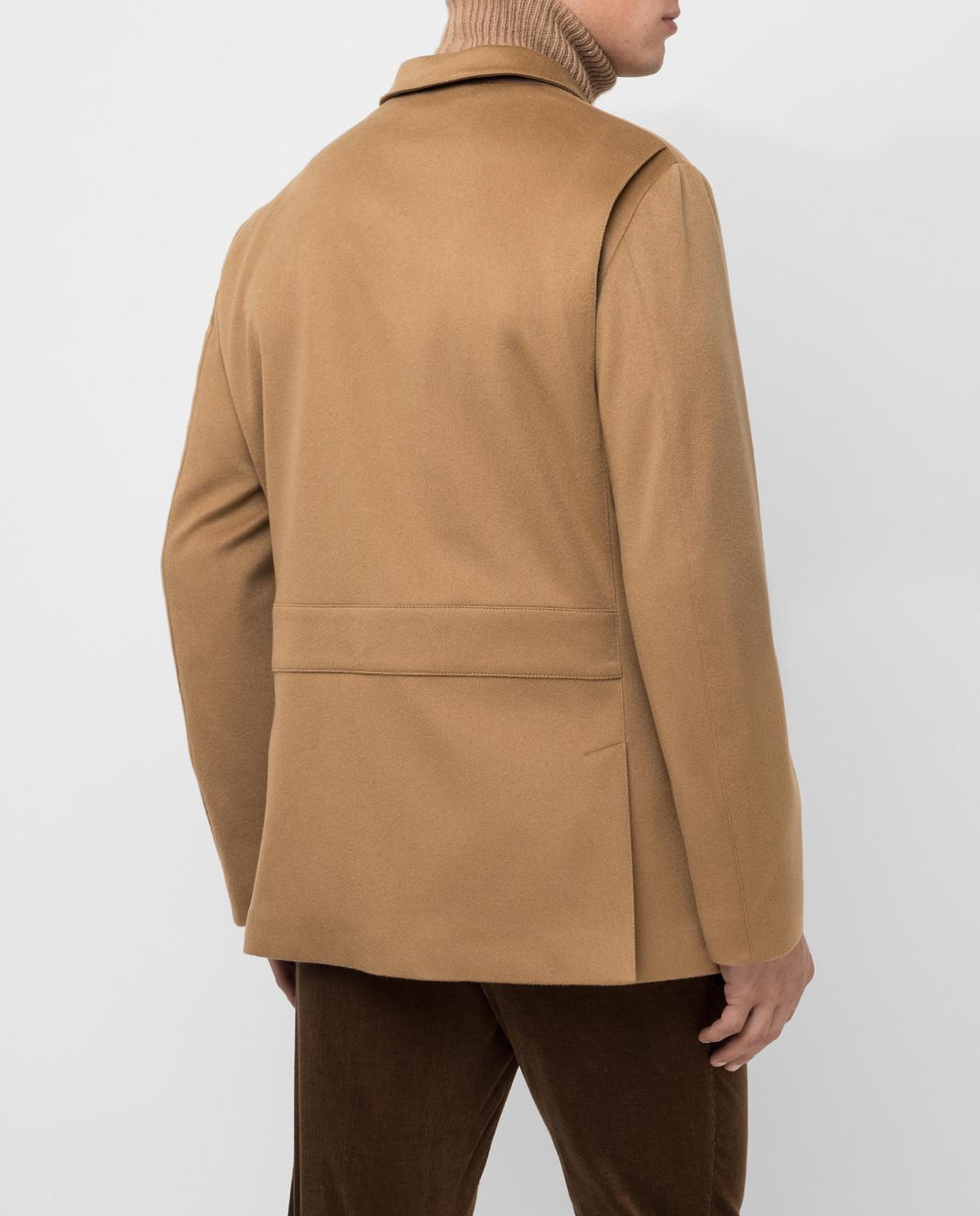 Loro Piana Темно-бежевое пальто из кашемира изображение 4