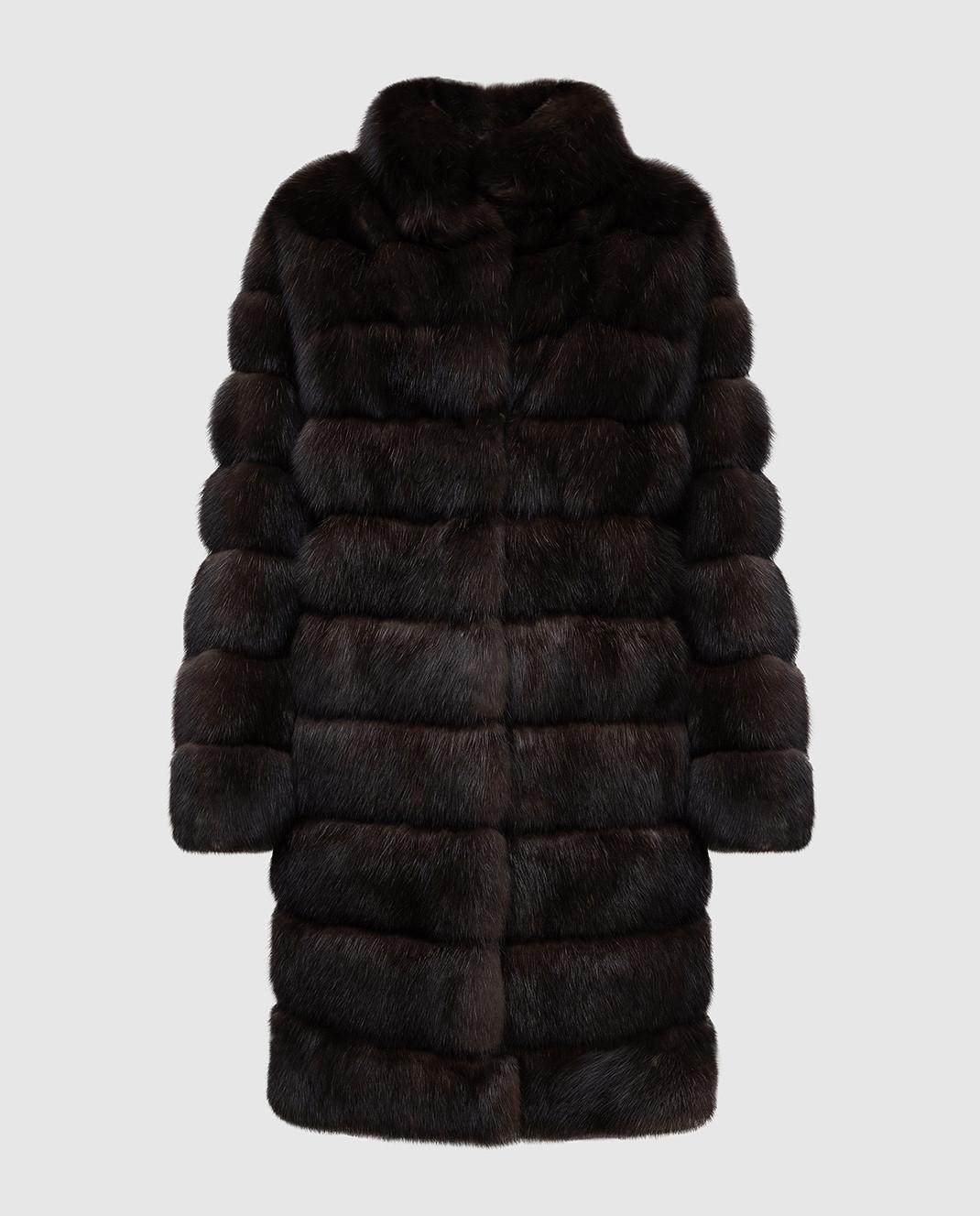 Real Furs House Темно-коричневая шуба из соболя SBR28622DARKSILV290