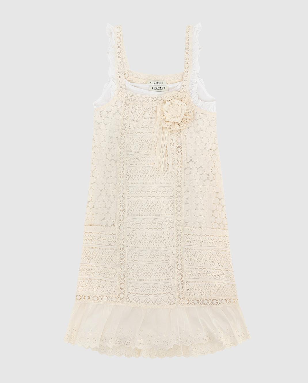 Twin Set Детское светло-бежевое платье GS82Z31216