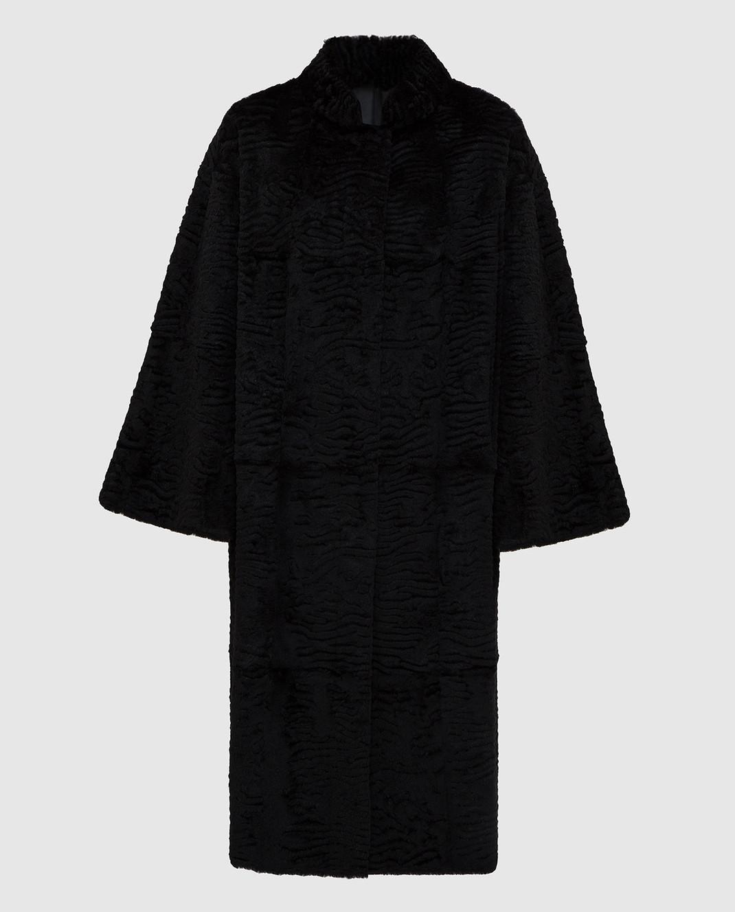 Giuliana Teso Черное пальто из меха кролика изображение 1