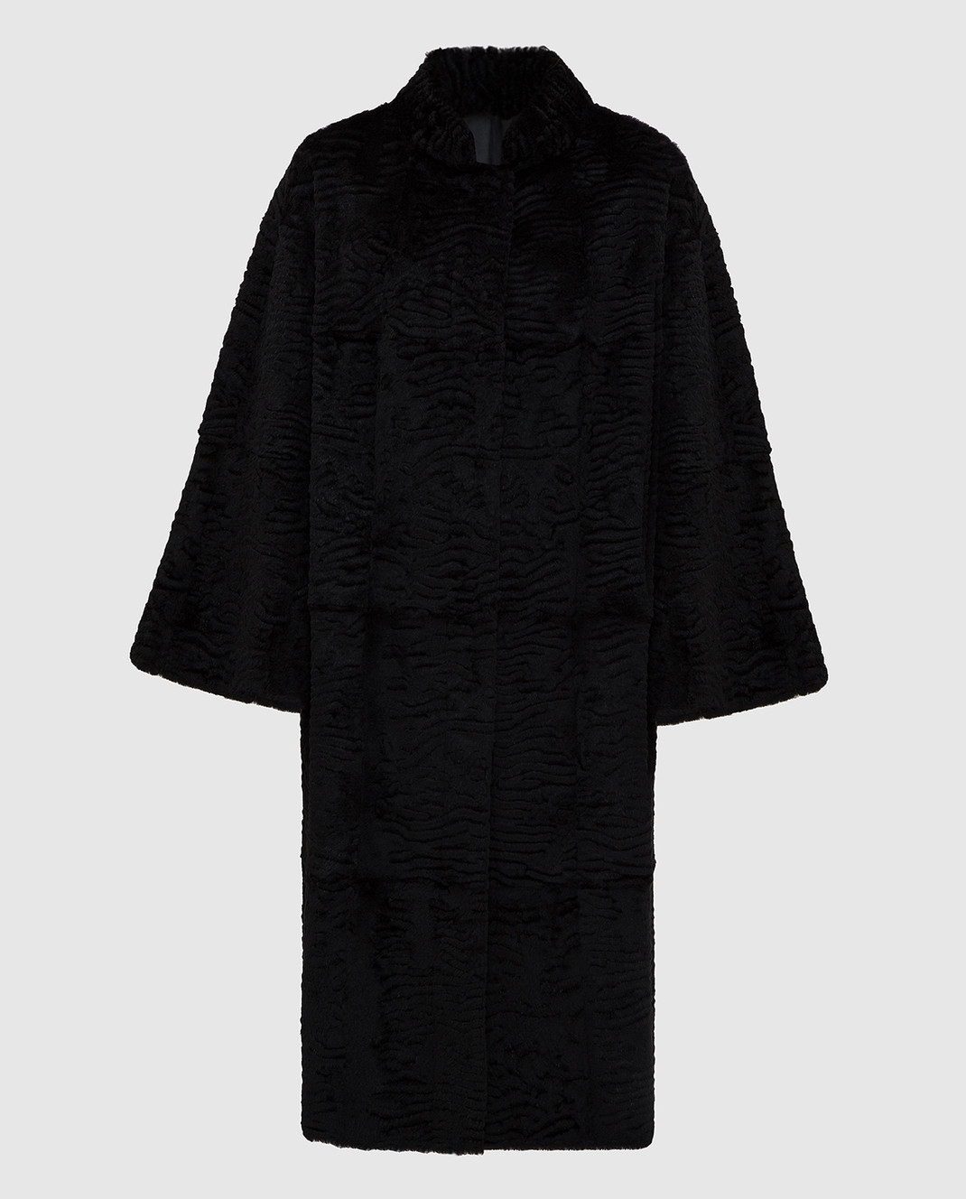 Giuliana Teso Черное пальто из меха кролика 84KA440A