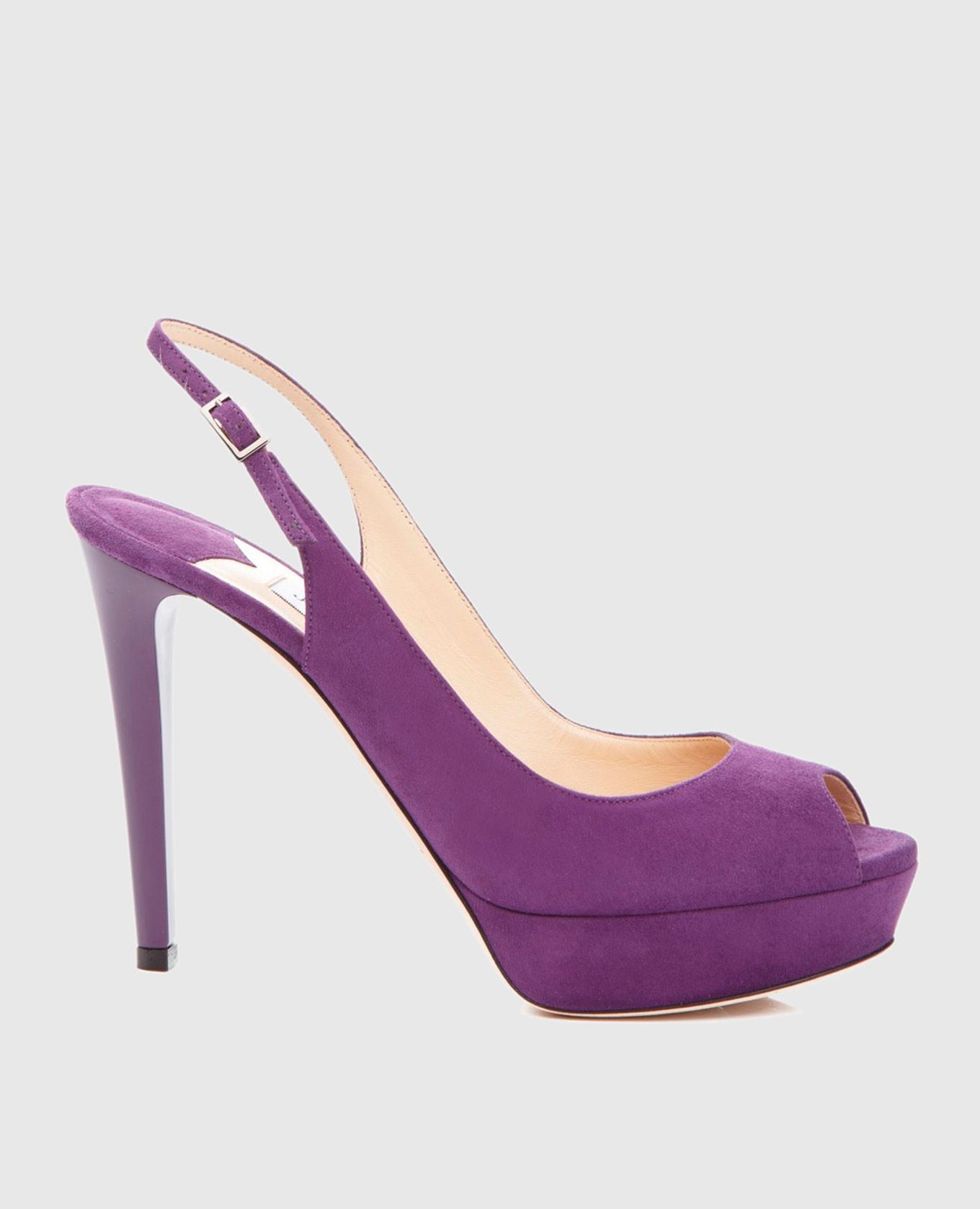 Фиолетовые замшевые босоножки