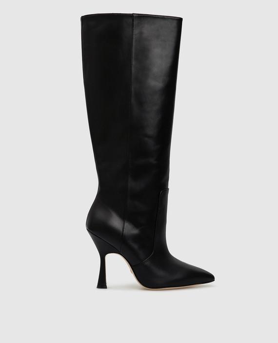 Черные кожаные сапоги