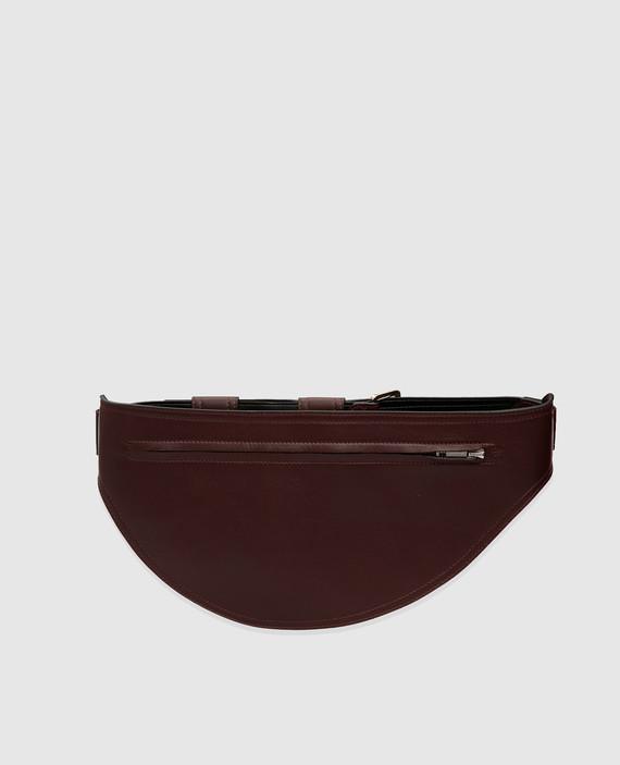 Бордовая кожаная поясная сумка