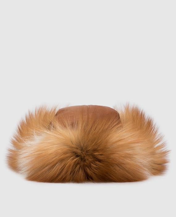 Кожаная шапка с мехом лисы