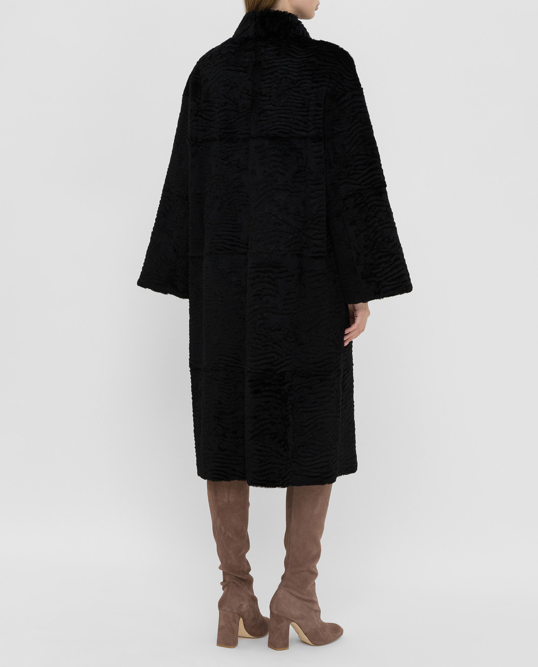 Giuliana Teso Черное пальто из меха кролика 84KA440A изображение 4