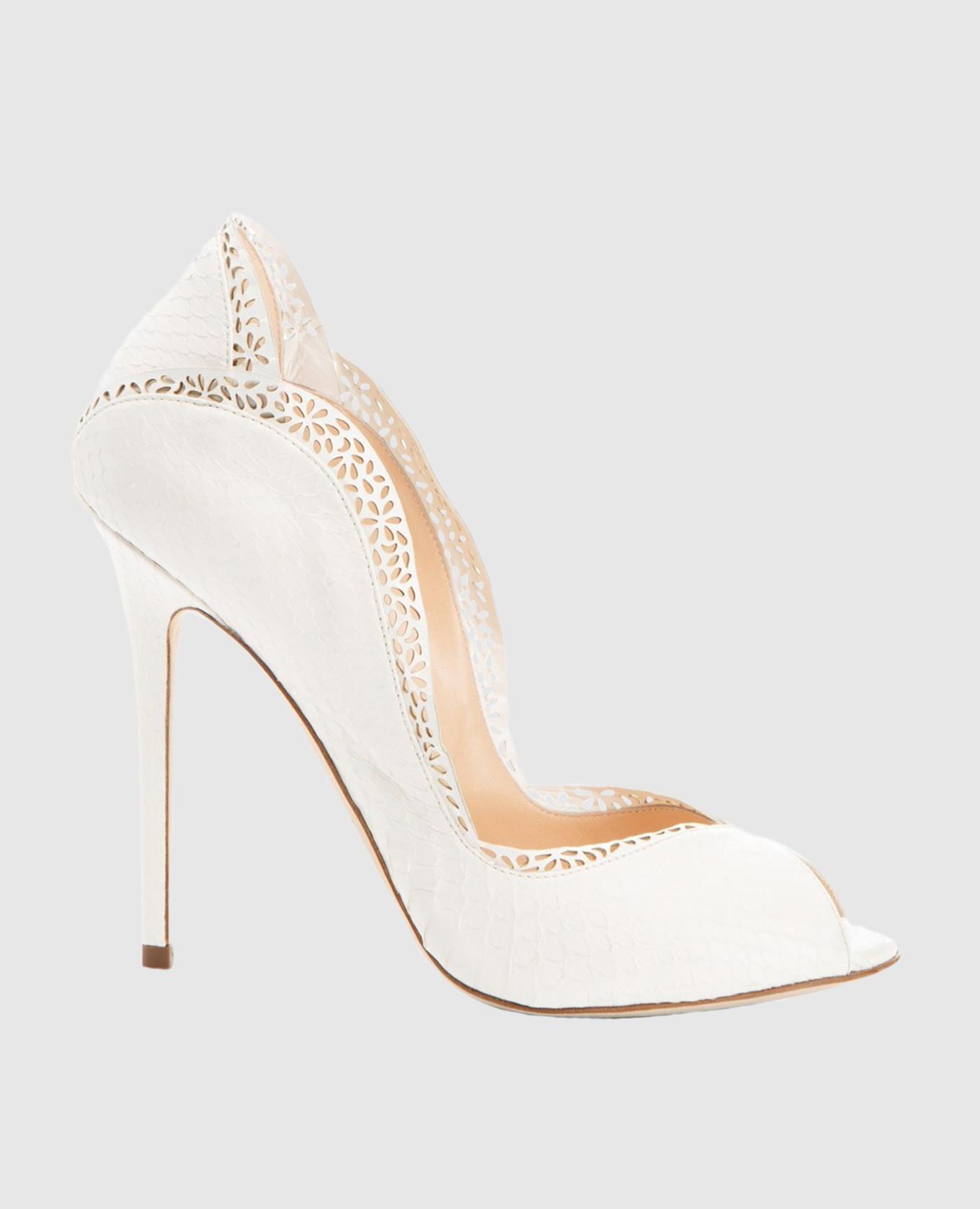 Белые туфли из кожи питона DANAEELAPHE
