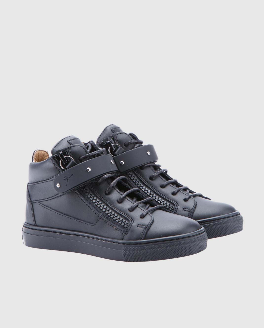 Giuseppe Zanotti Детские черные кожаные кеды SBE713001 изображение 2