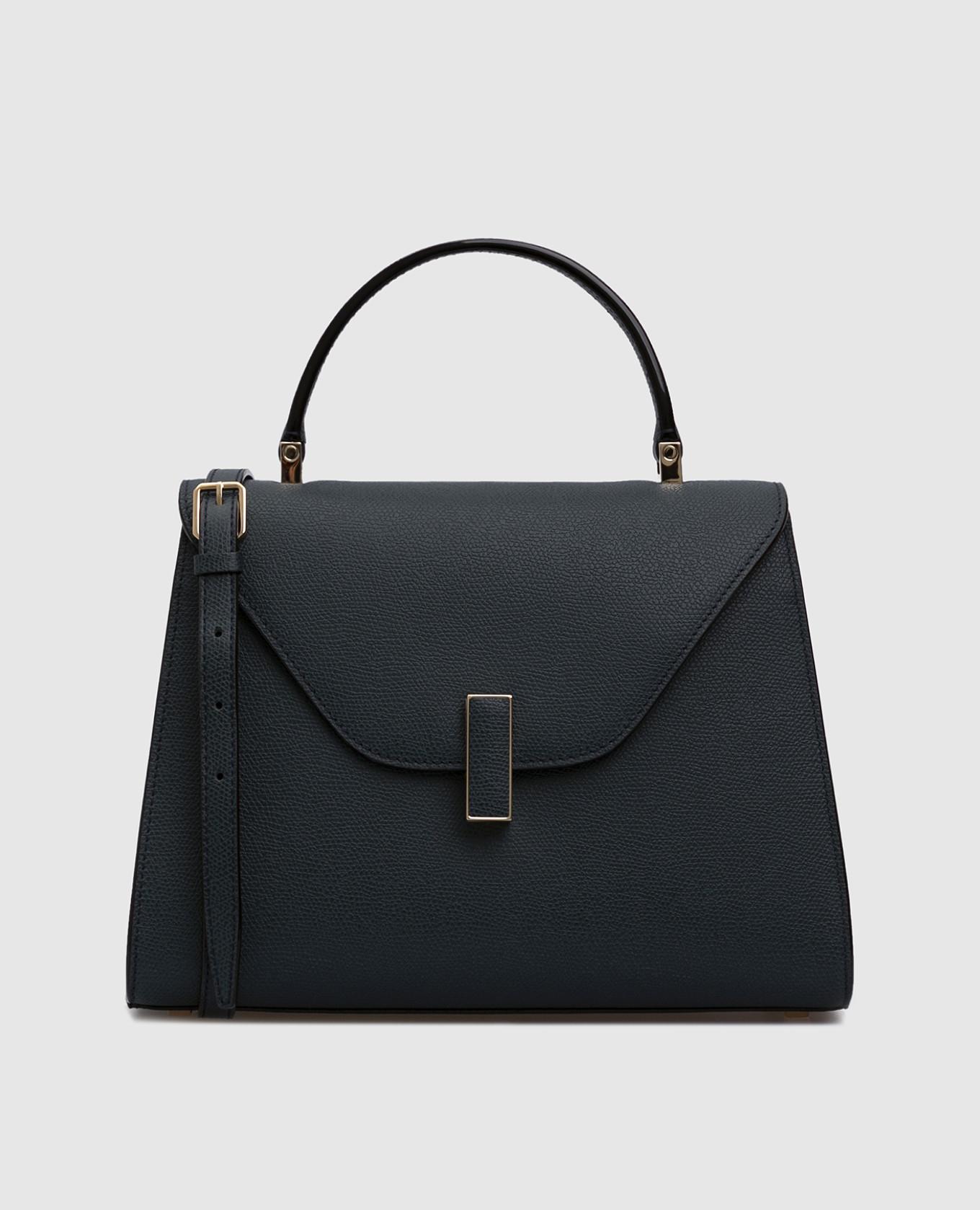 Темно-синяя кожаная сумка