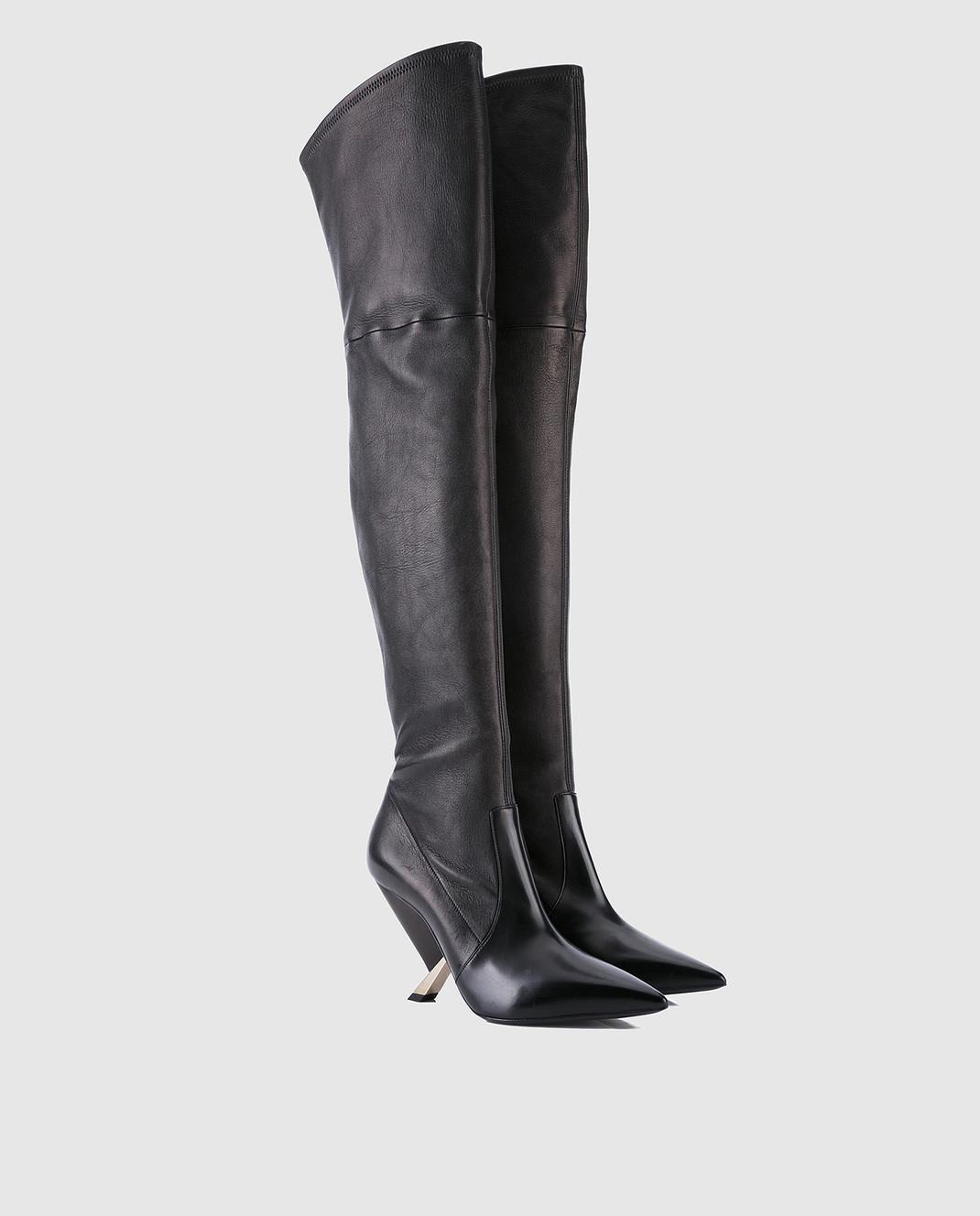 Casadei Черные кожаные ботфорты 1T722L090MPNAP изображение 2
