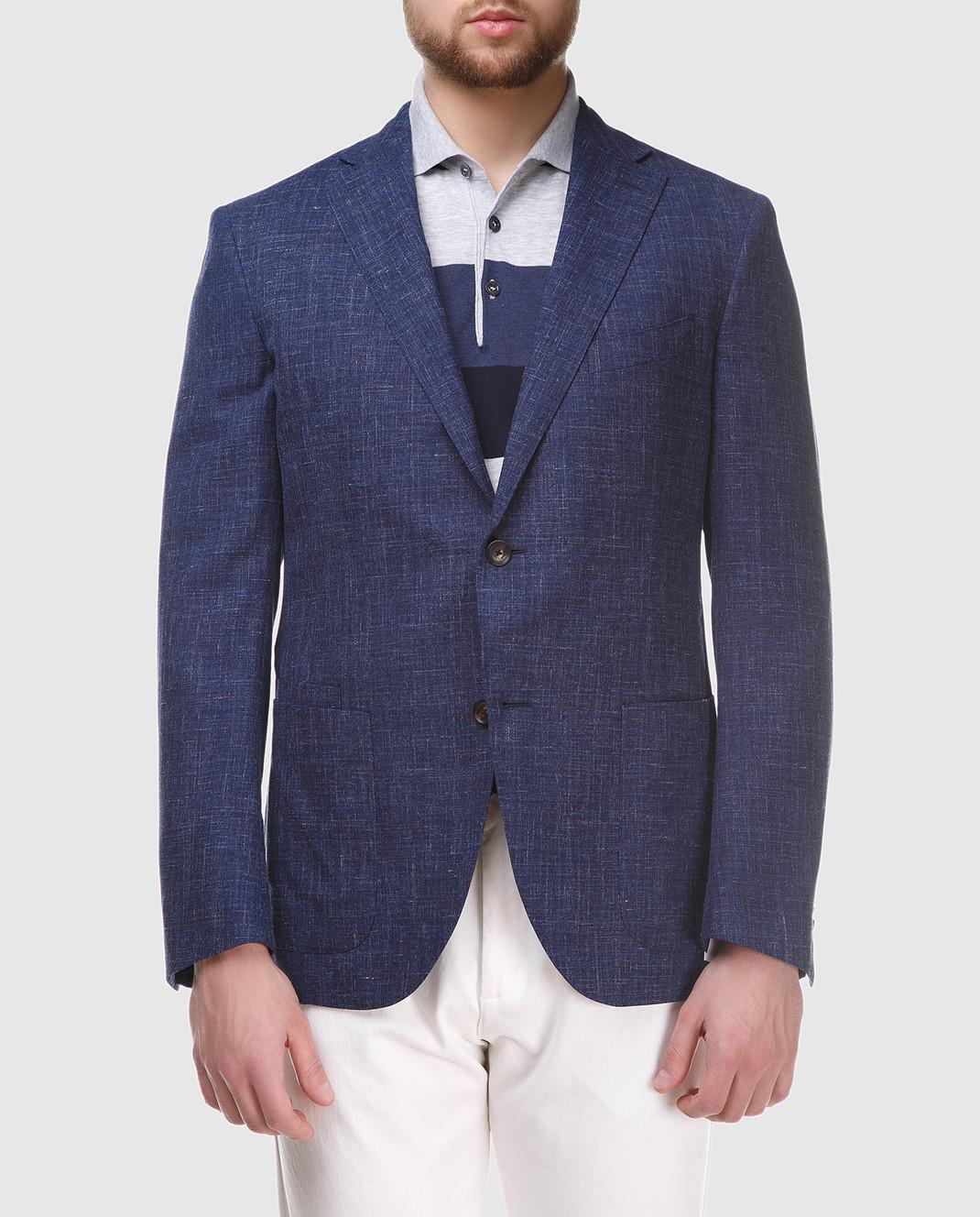 Luciano Barbera Темно-синий блейзер из шерсти и льна 111A2518164