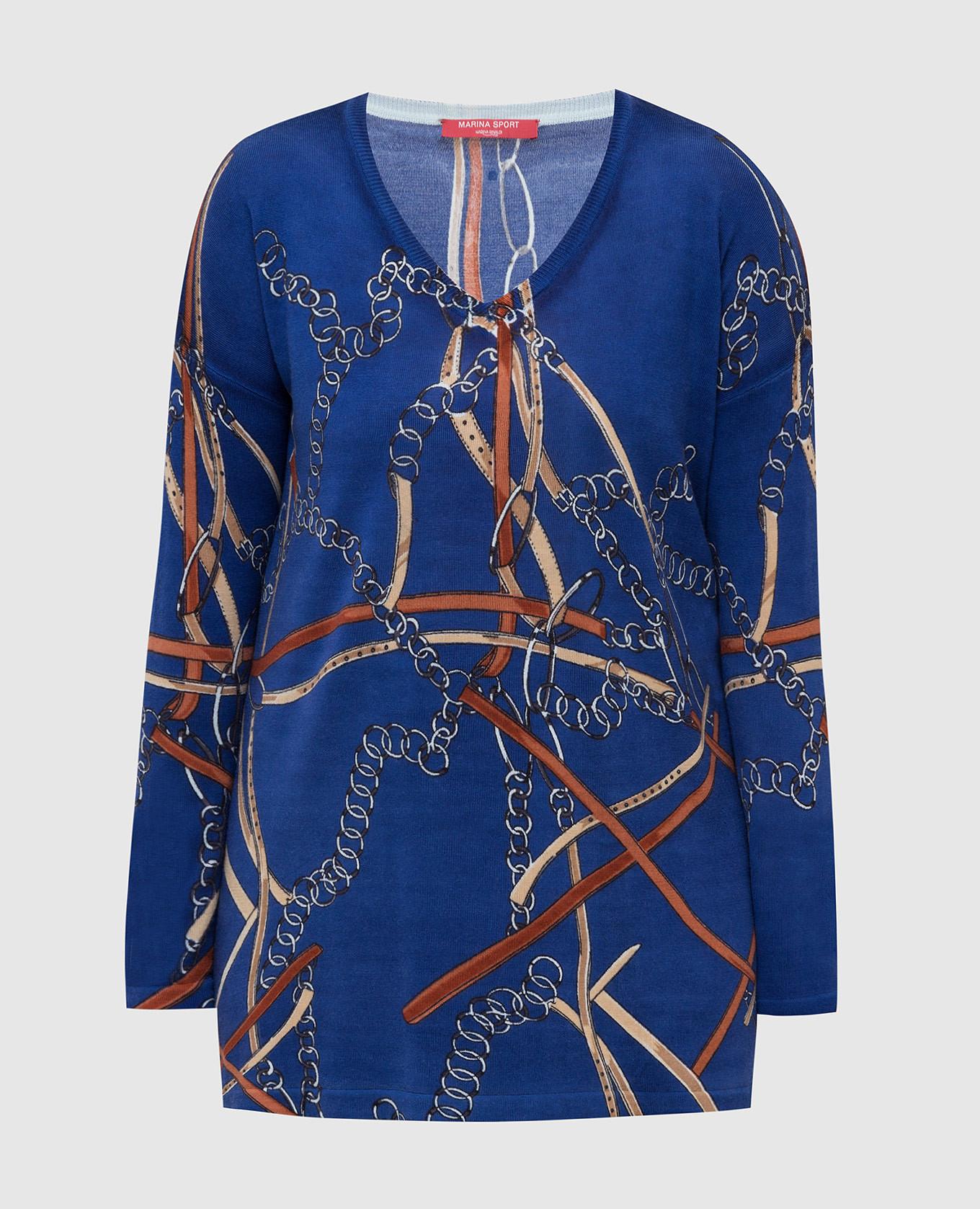 Синий пуловер из шерсти