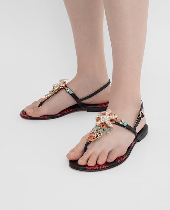 Черные кожаные сандалии с кристаллами hover