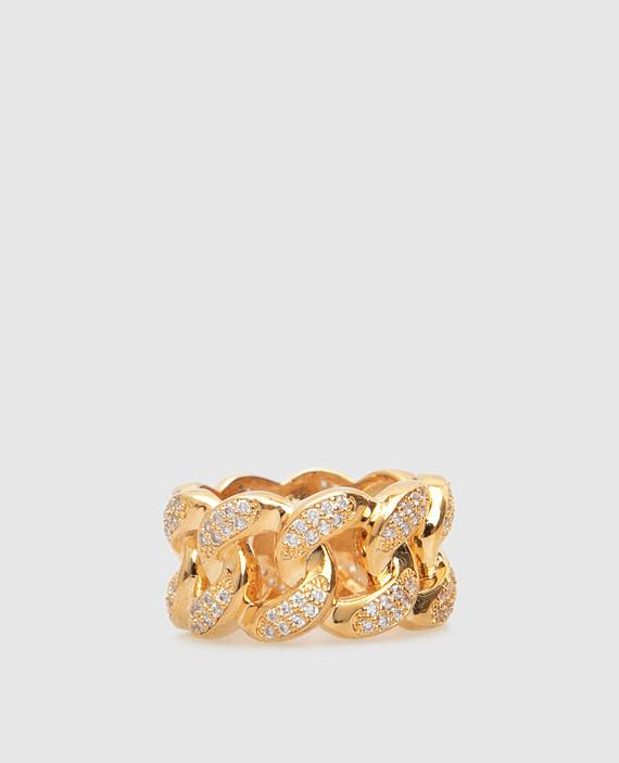 Золотистое кольцо с кристаллами
