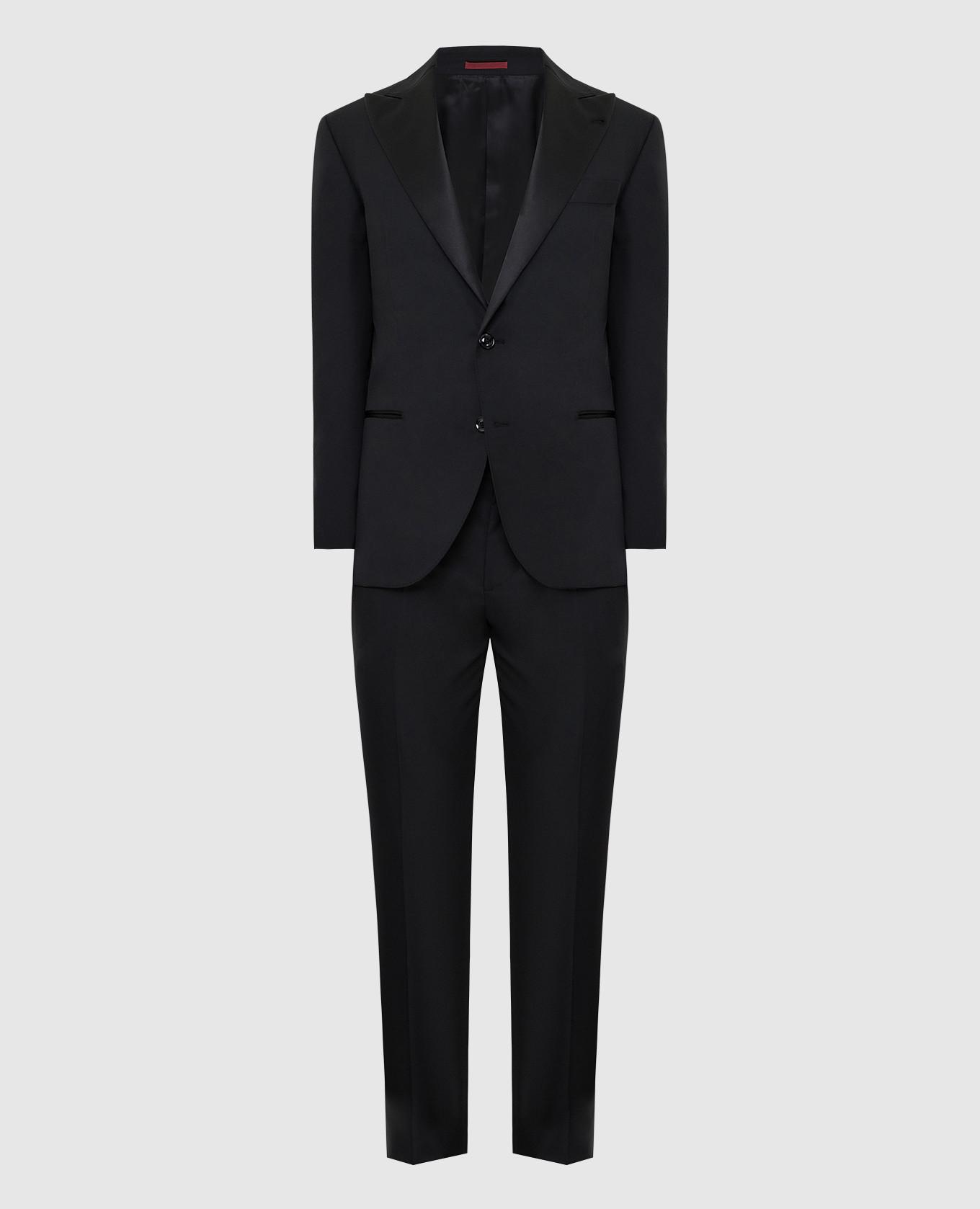 Черный костюм из шерсти и шелка