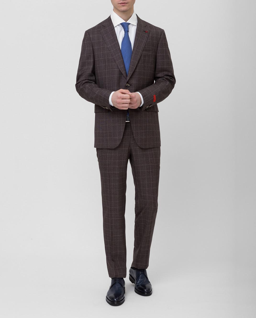 ISAIA Коричневый костюм 224AFI8504X изображение 2