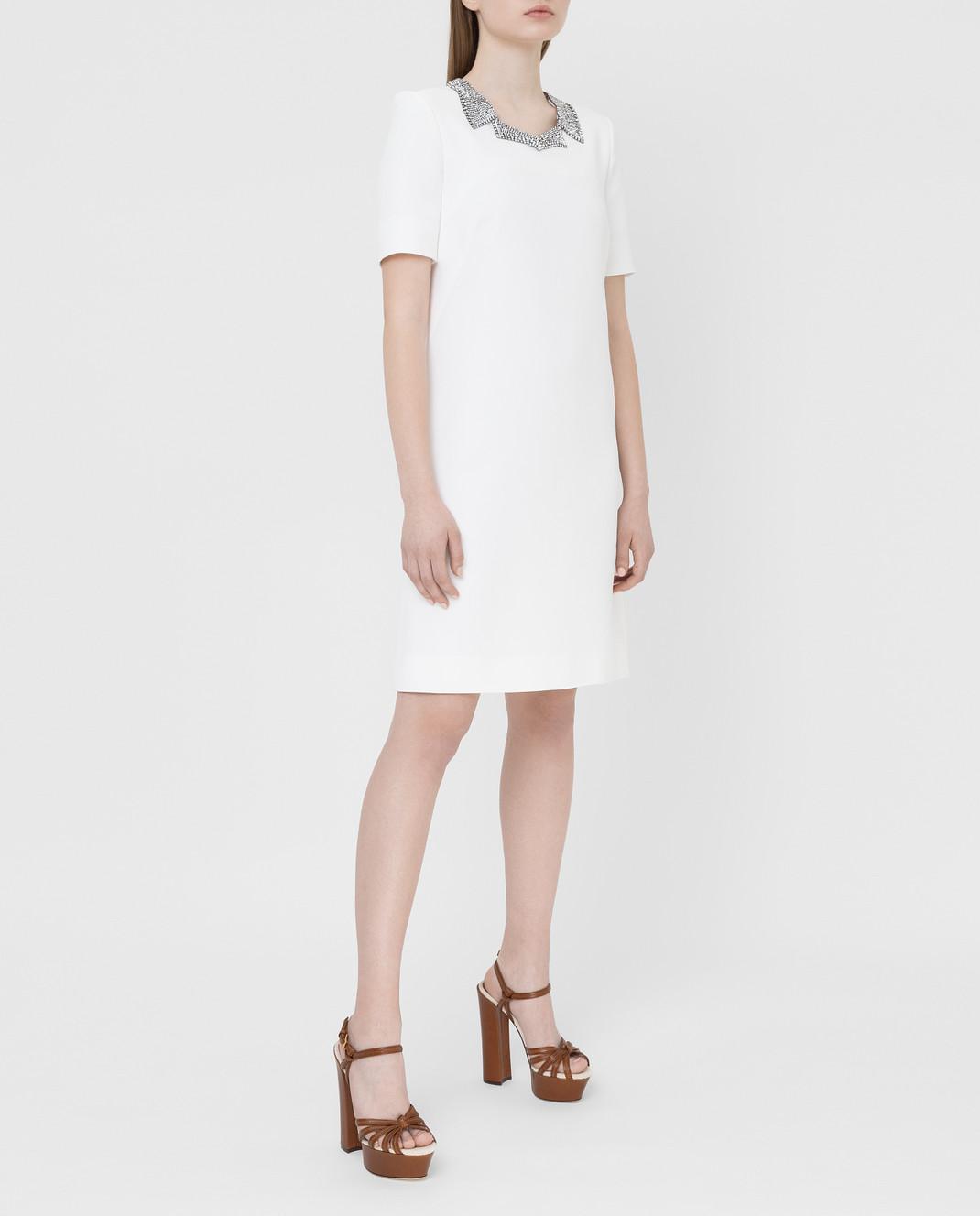 Ermanno Scervino Белое платье с кристаллами D362Q366UKF изображение 2