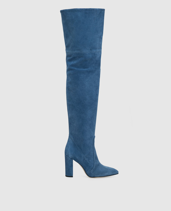 Синие замшевые ботфорты