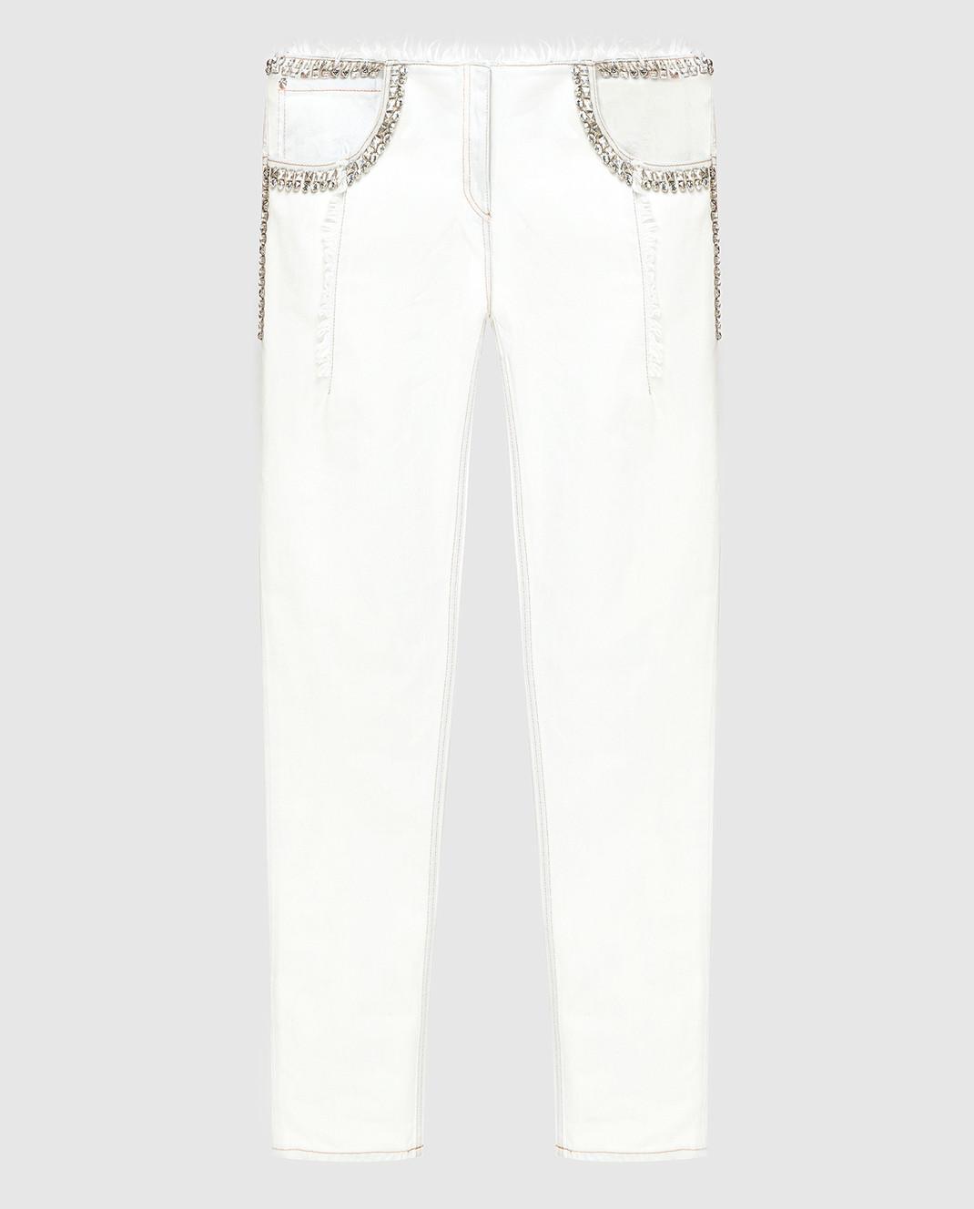 Roberto Cavalli Белые джинсы с кристаллами CKJ211
