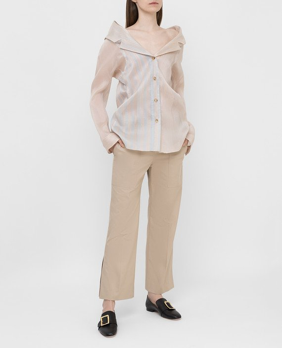 Бежевая блуза из шелка hover
