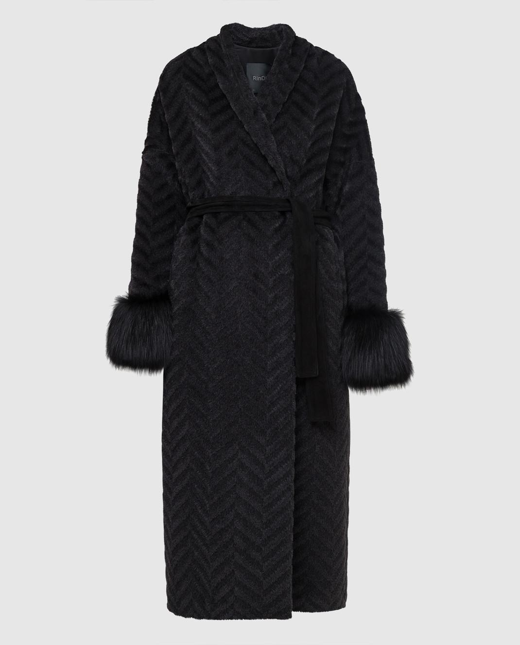 Rindi Черное пальто из альпаки и шерсти с мехом лисы 267TE017