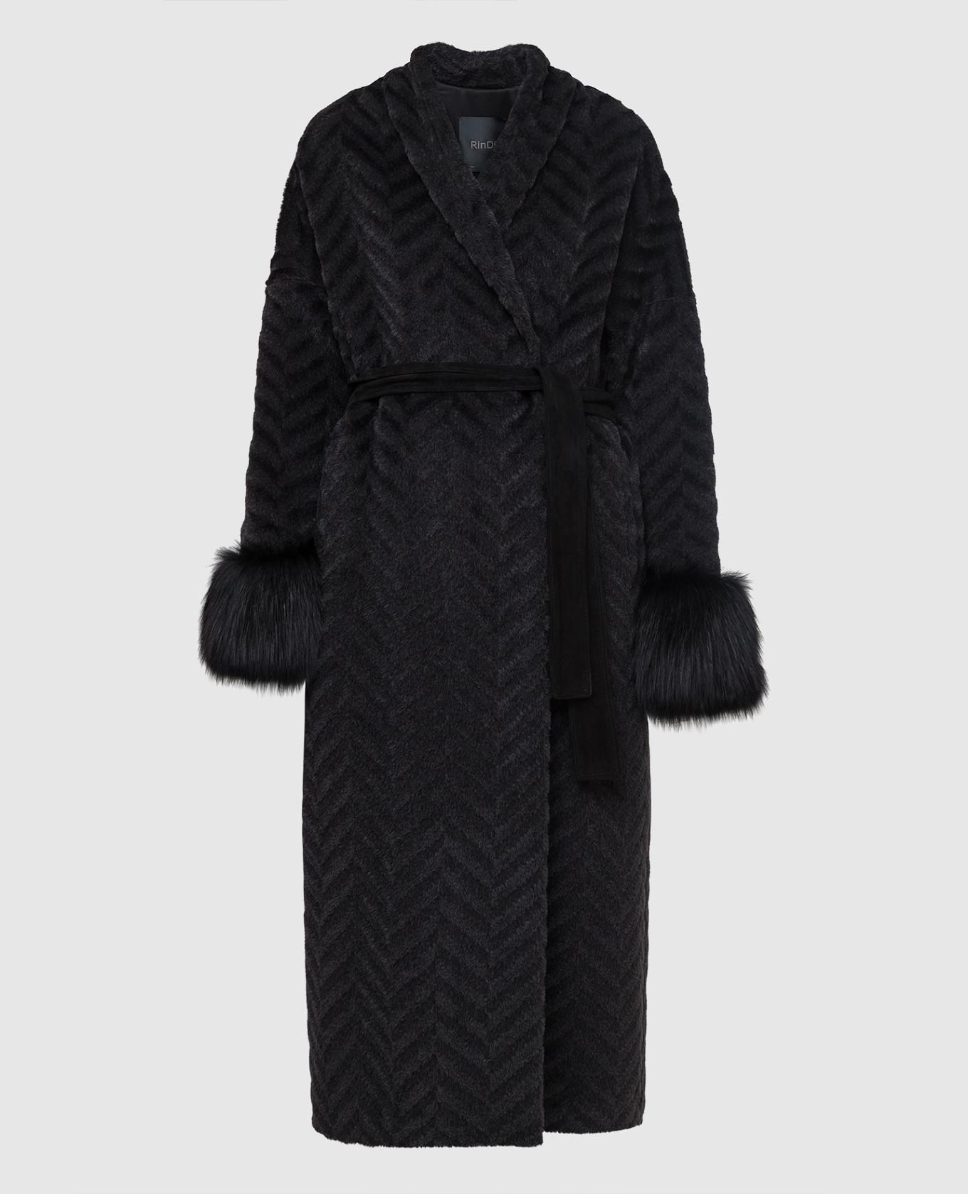 Черное пальто из альпаки и шерсти с мехом лисы