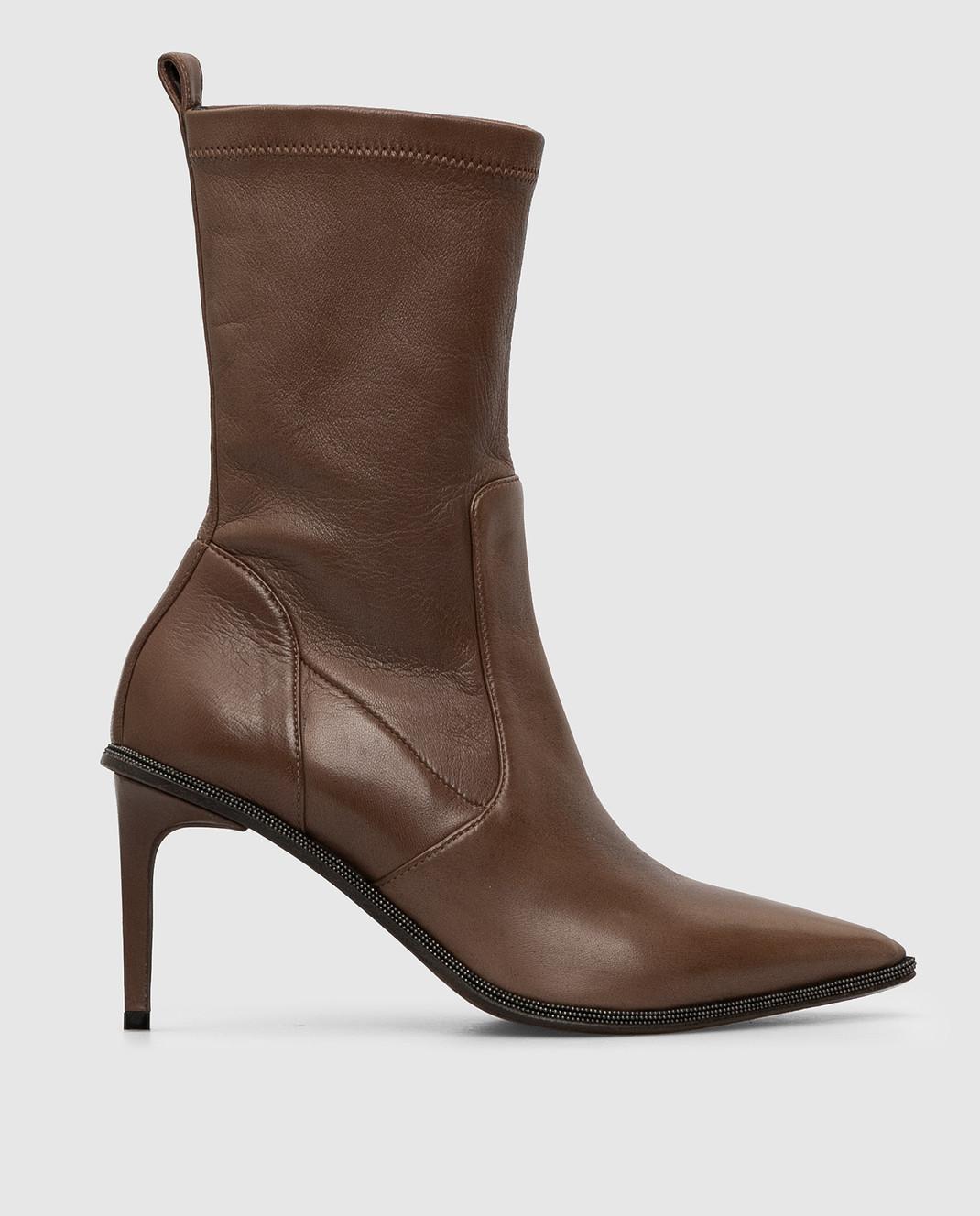 Brunello Cucinelli Темно-коричневые кожаные ботильоны изображение 1