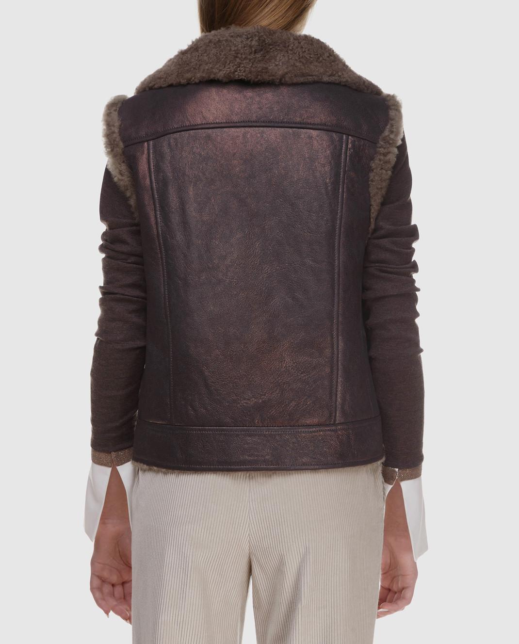 Brunello Cucinelli Коричневый кожаный жилет с мехом барашка MPBPO8449P изображение 4