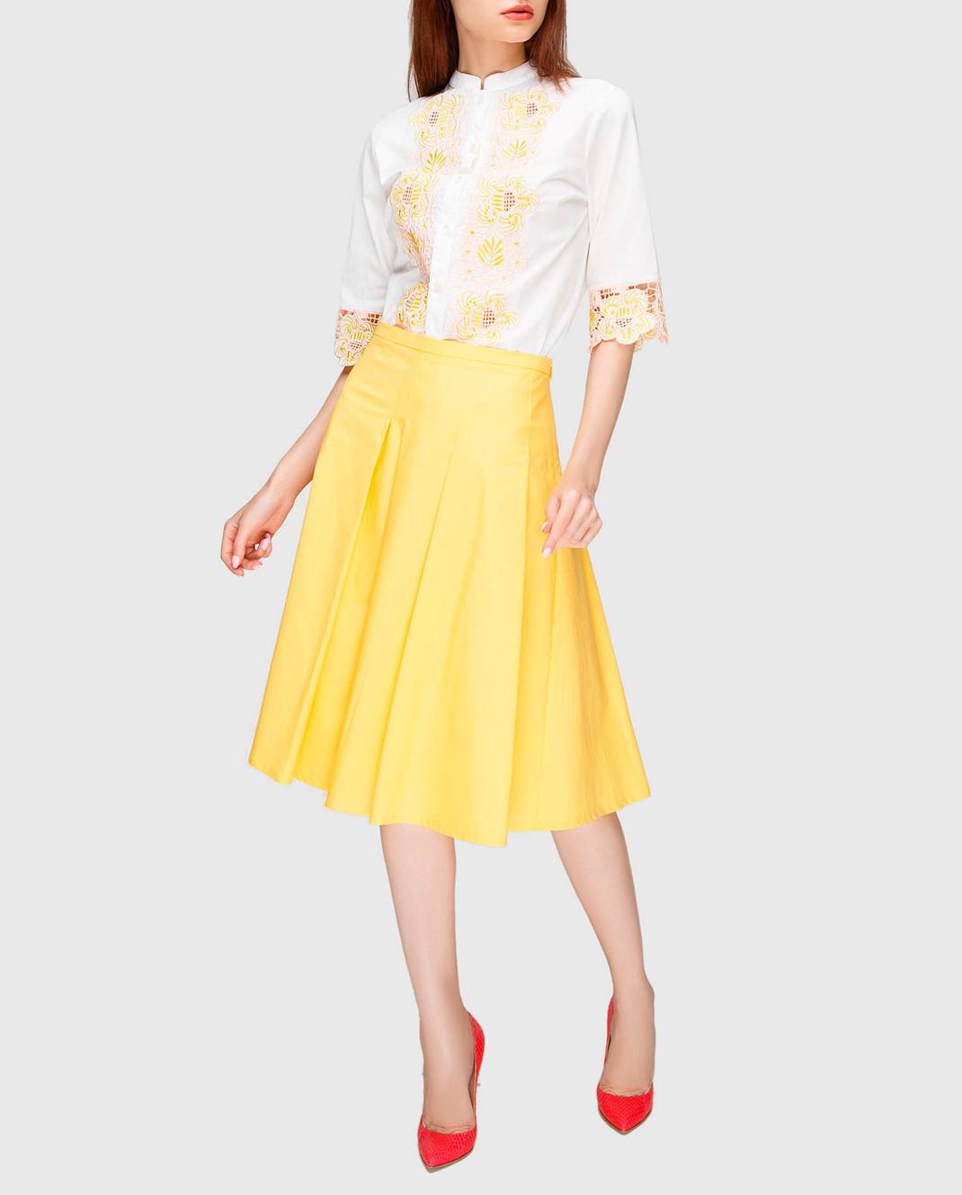 Etro Белая блуза с вышивкой D15180 изображение 2