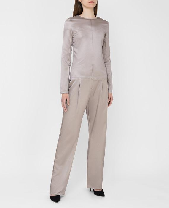 Серые брюки из шелка hover