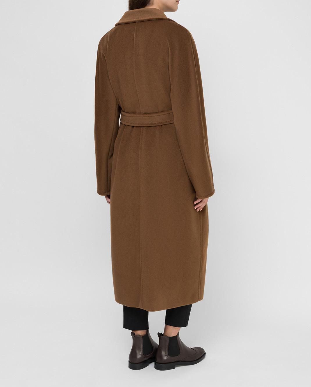 Max Mara Темно-бежевое пальто из шерсти и кашемира изображение 4