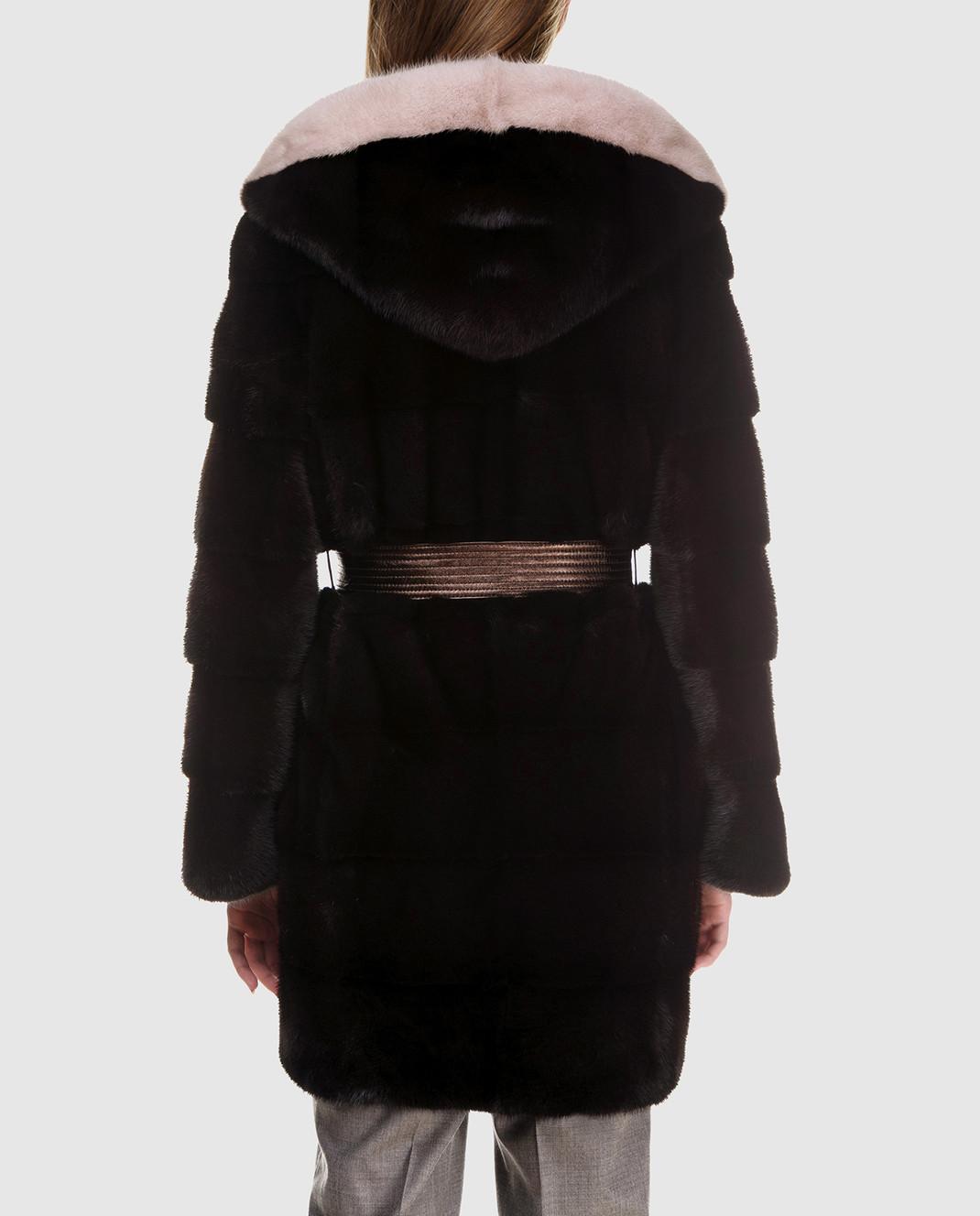 Florence Mode Темно-коричневая шуба из меха норки с поясом L1827EBONY изображение 4