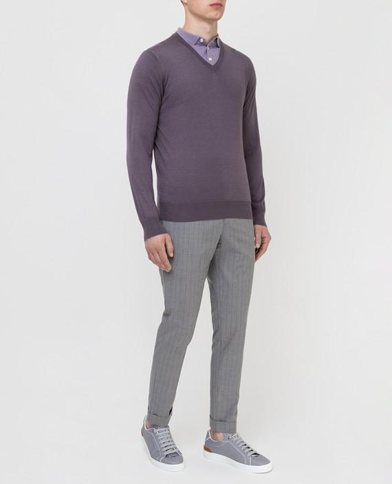 Темно-сиреневый пуловер из кашемира и шелка hover