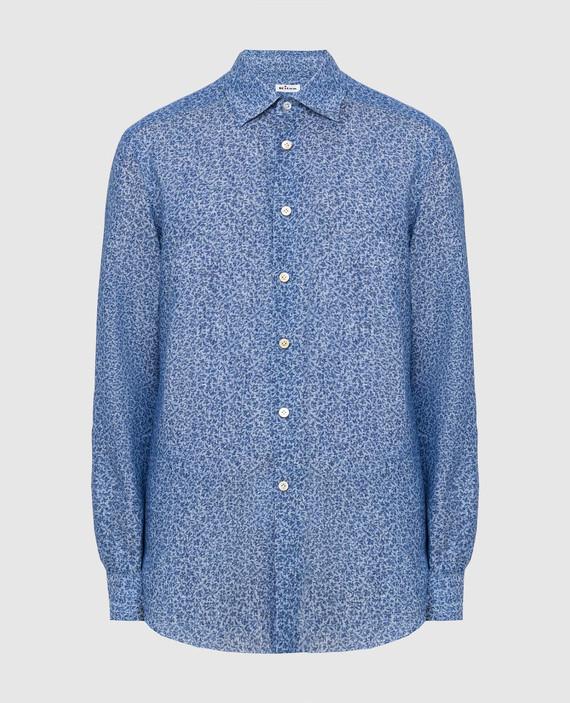 Синяя рубашка из льна