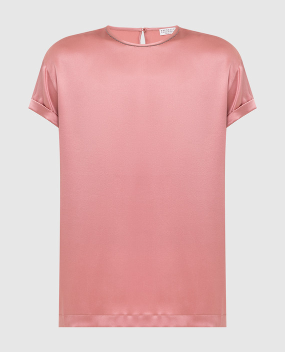 Светло-розовый топ из шелка