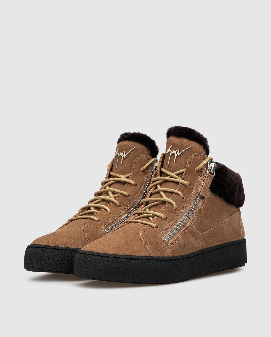 Giuseppe Zanotti Бежевые замшевые ботинки изображение 3