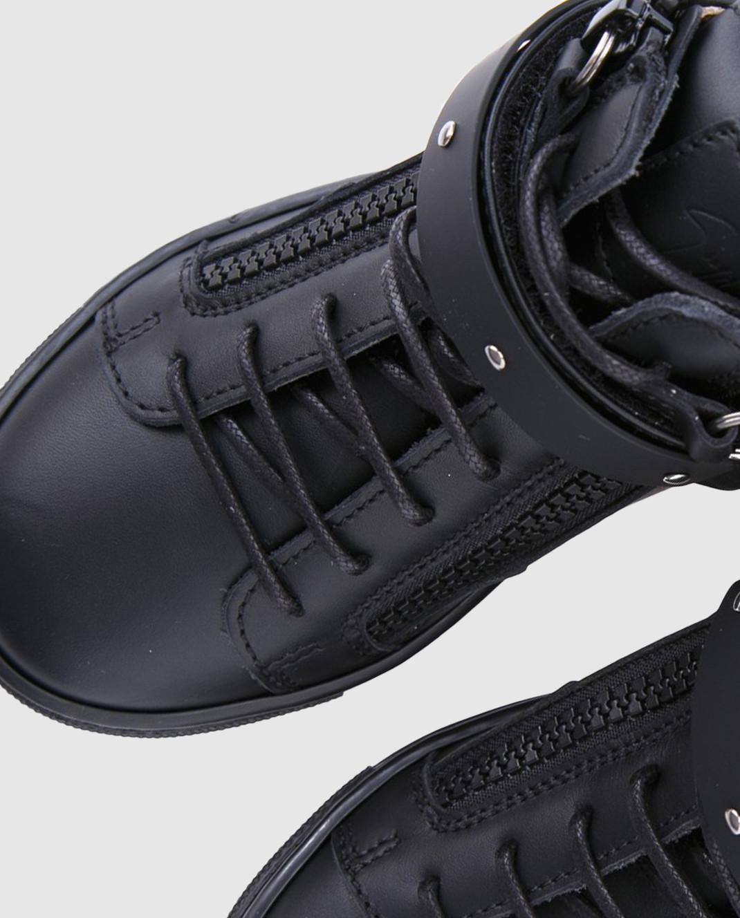 Giuseppe Zanotti Детские черные кожаные кеды SBE713001 изображение 3