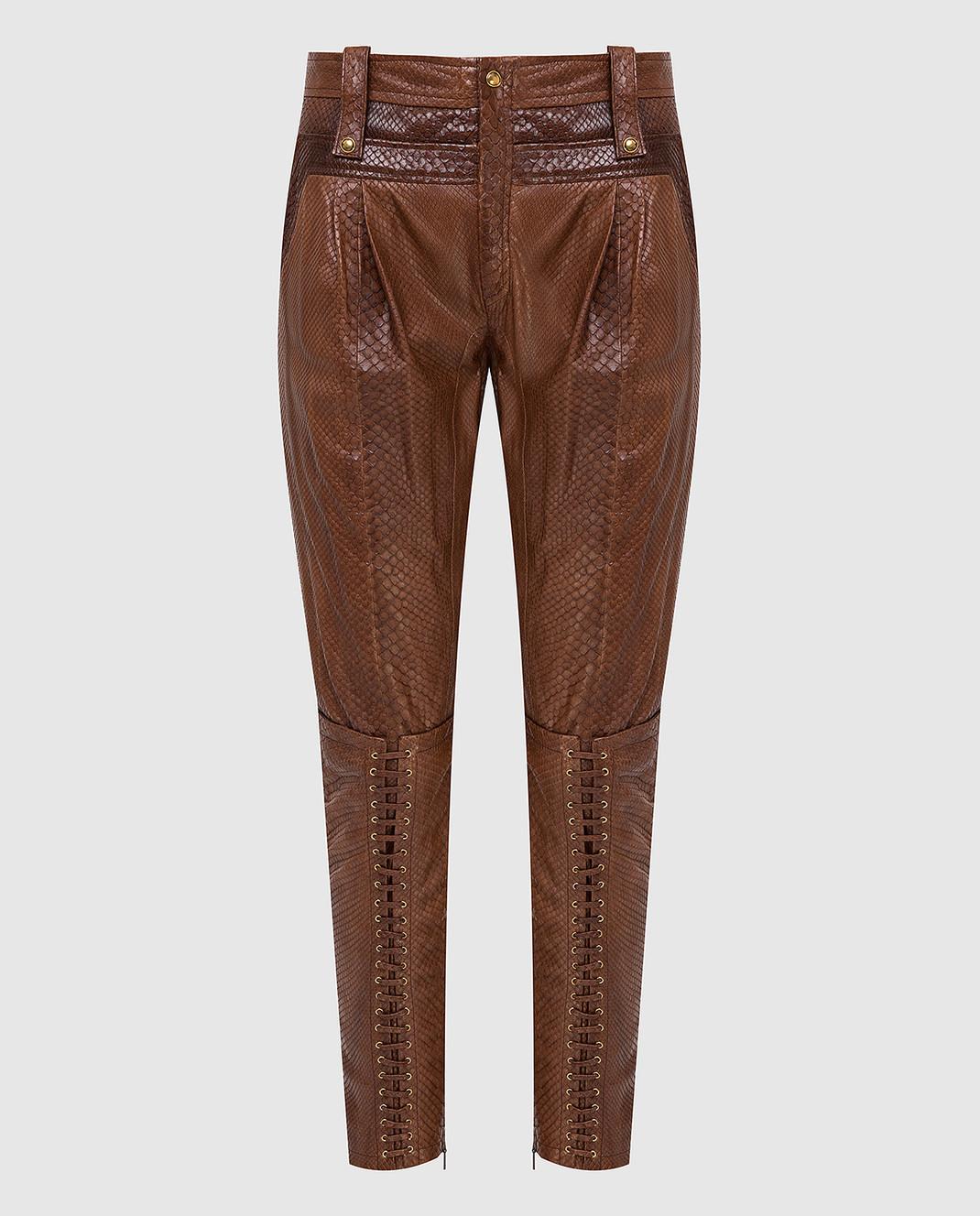 Gucci Коричневые брюки из кожи питона 264366