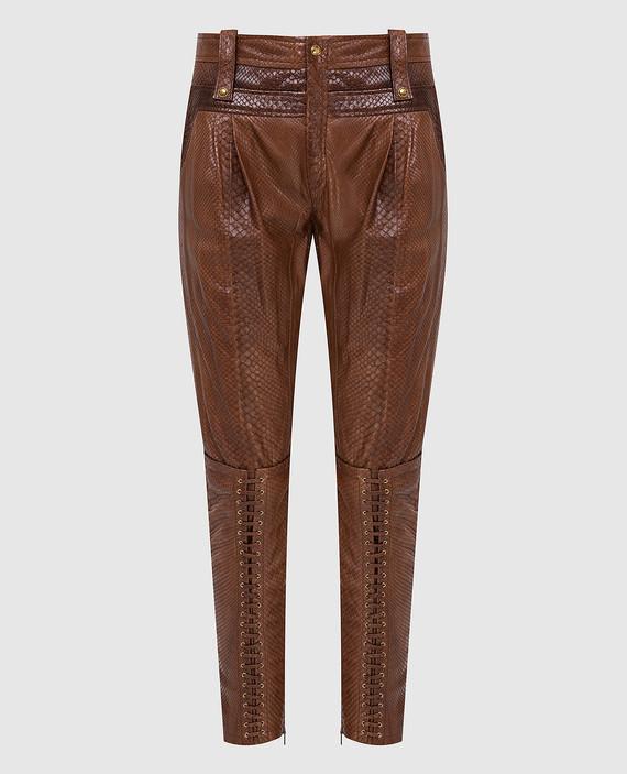 Коричневые брюки из кожи питона