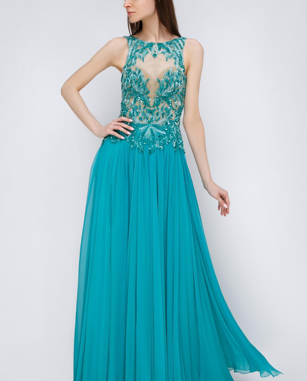 Zuhair Murad Бирюзовое платье из шелка RDRS15008DL99 изображение 3