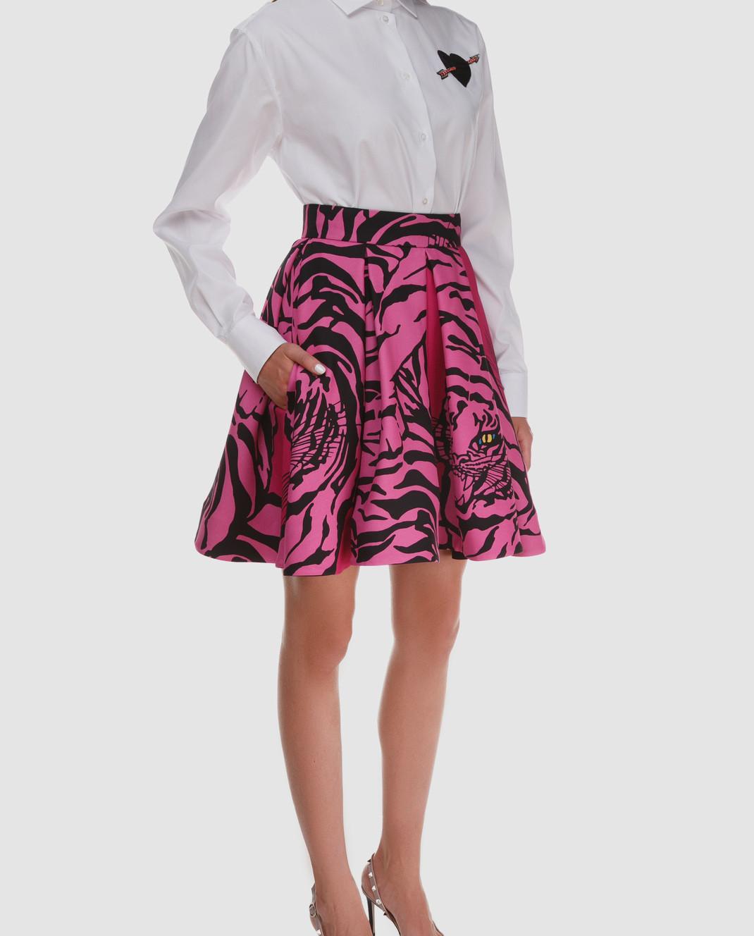 Valentino Розовая юбка из шерсти и шелка QB3RA3W546B изображение 2