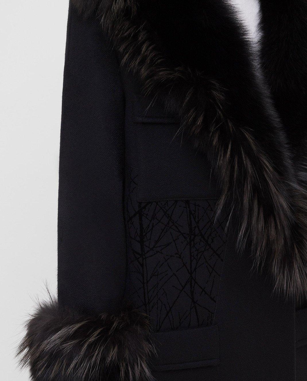 Rindi Черное пальто из кашемира с мехом лисы 277TE017 изображение 5