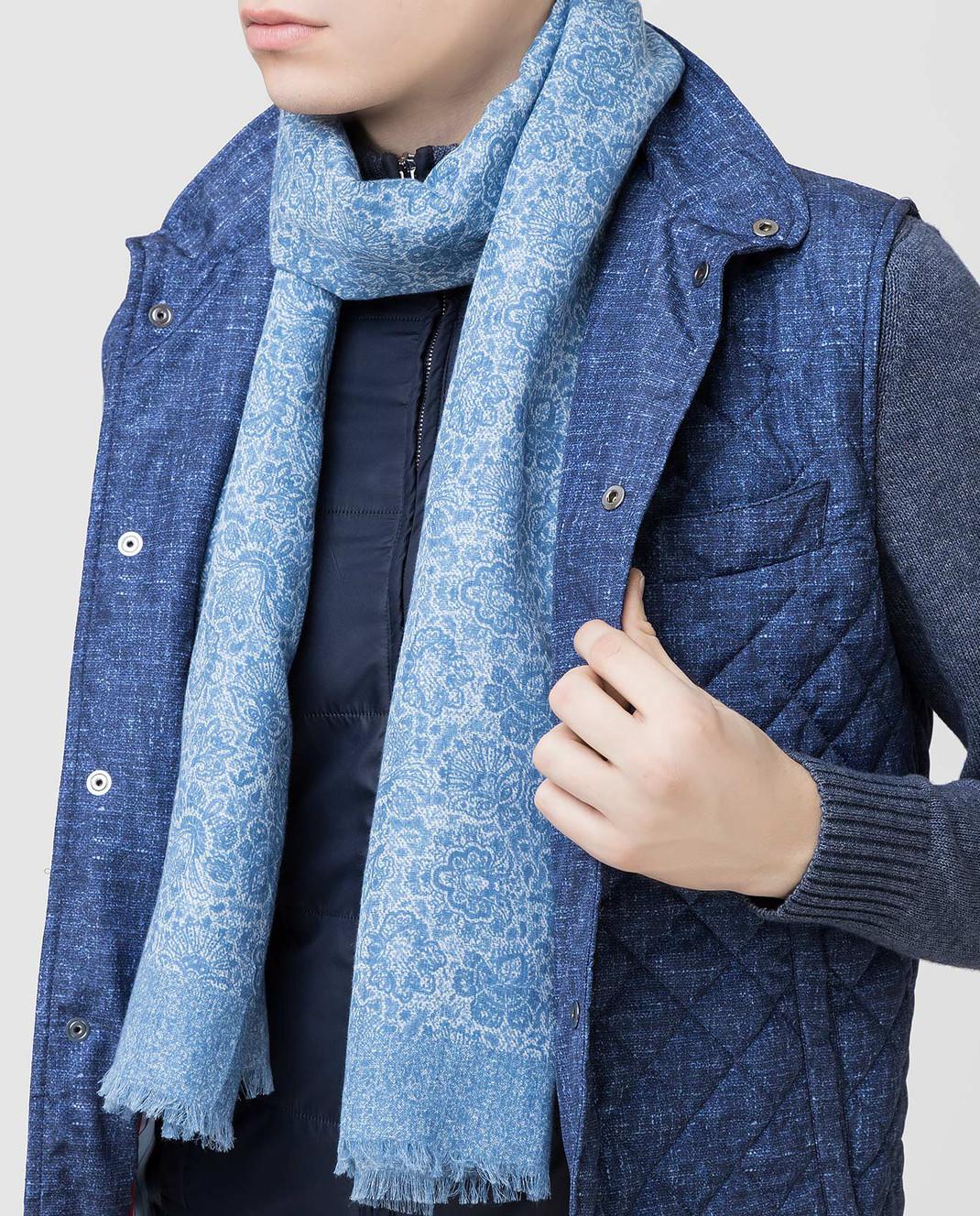 ISAIA Синий шарф изображение 2