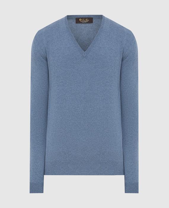 Синий пуловер из кашемира