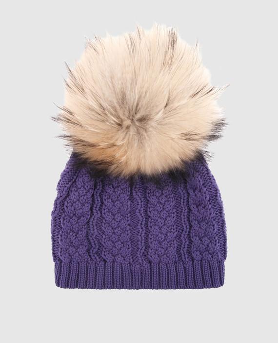 Детская фиолетовая шапка