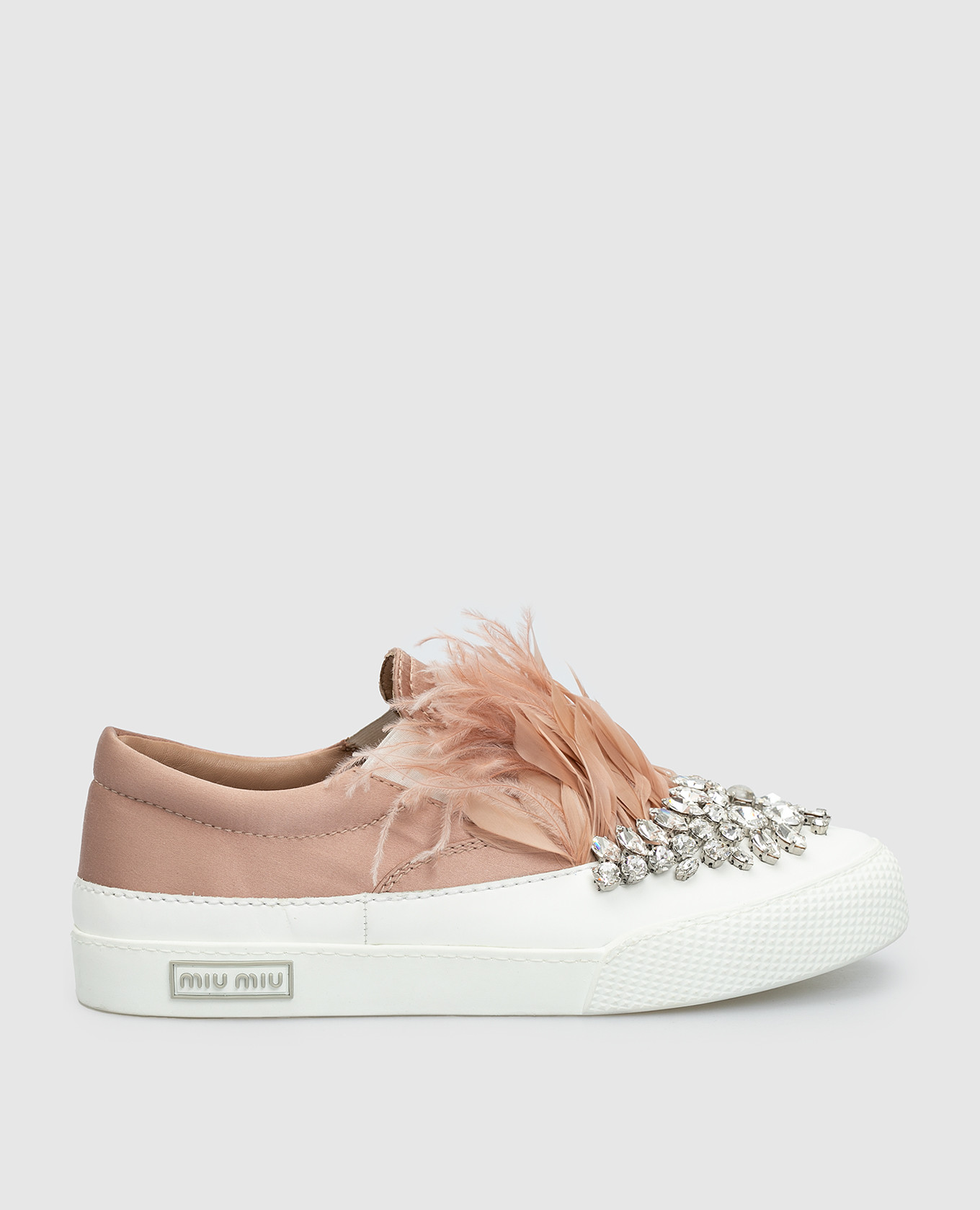 Розовые слипоны с кристаллами и перьями из страуса