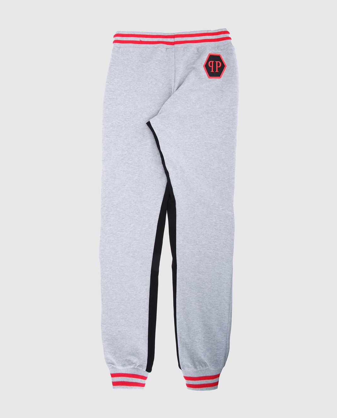Philipp Plein Детские серые спортивные брюки BJT00591416 изображение 2