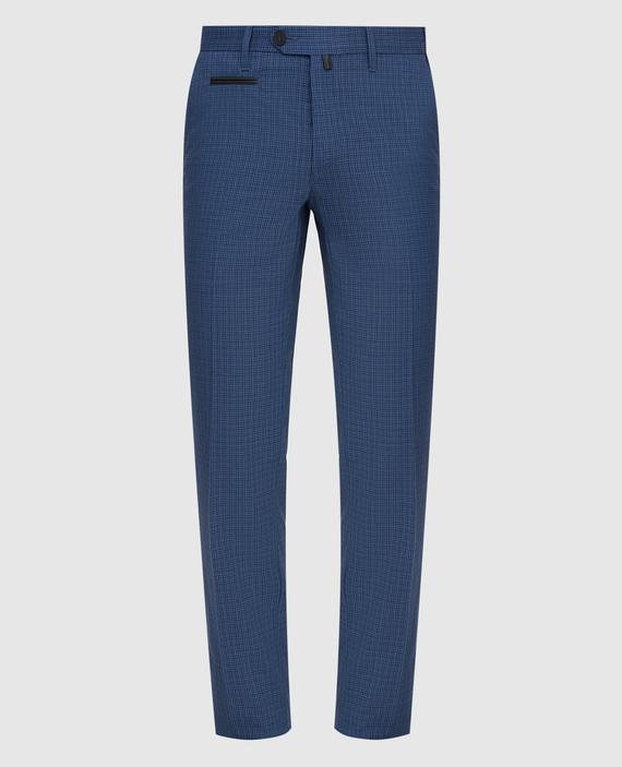 Темно-синие брюки из шерсти, льна и шелка