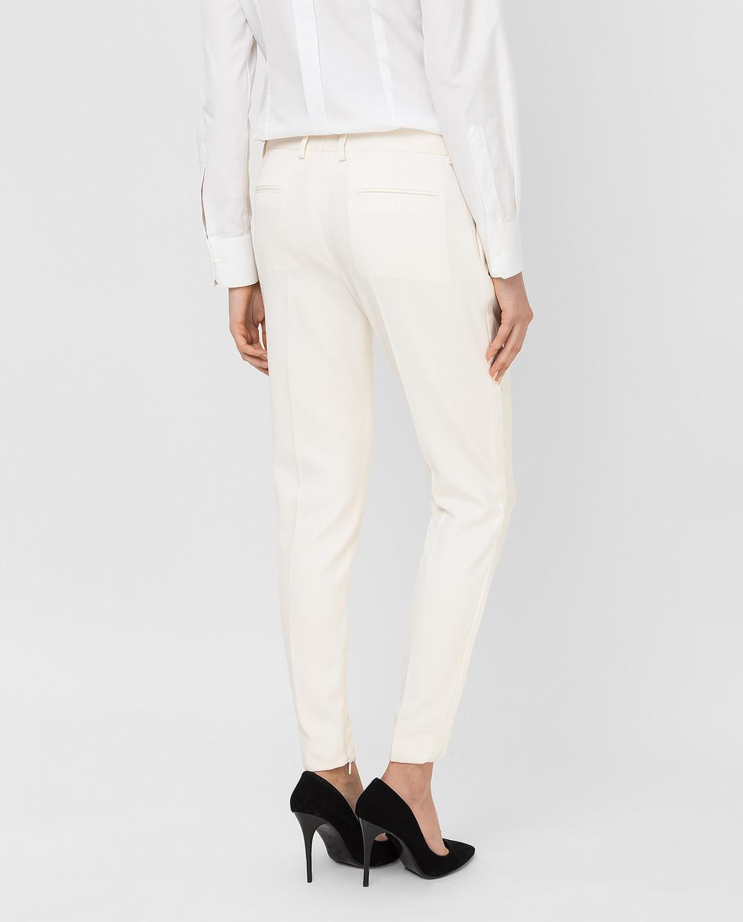 Saint Laurent Светло-бежевые брюки из шерсти 516111 изображение 4