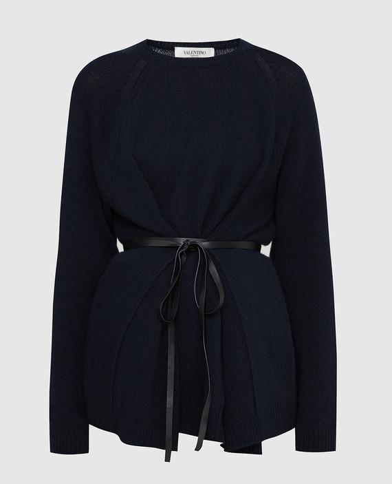 Темно-синий джемпер из шерсти и кашемира
